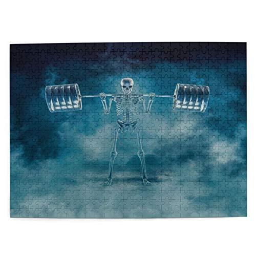 ZELXXXDA Puzzle 500 Stück, Phantom Squat 3D Scary Fitness Skelett Hocken Schwere Langhantel durch Rauch,großes Familien-Puzzle-Spiel-Kunstwerk für Erwachsene Jugendliche