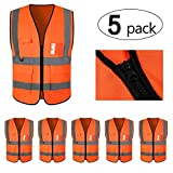 Mount Marter Safety Vest Reflective for women and men, 5 Pack Orange safety vest with 5 Pockets and zipper, highvisibilityvest with 360° reflective strips for traffic, surveyor, construction