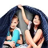 Quility Premium Kids Weighted Blanket & Removable Cover - 7 lbs - 41'x60' - for Child Between 70-90 lbs - Single Size Bed - Premium Glass Beads - Cotton/Minky - Grey/Navy Blue Color