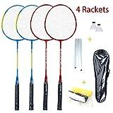 Juego de raquetas de bádminton para 4 personas, con red para jardín, fácil configuración de bádminton, para adultos, niños, familia