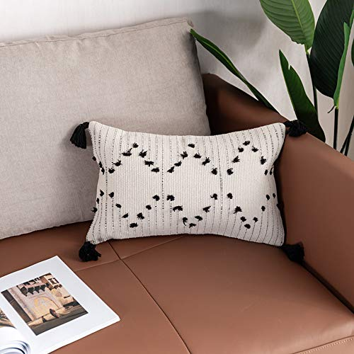 Ailsan Boho Cotton Woven Cream Lumbar Decorative Pillow Cover 12x20 Inch, Modern Black and Beige White Geometric Striped Throw Pillow Covers Tassel Cushion Case for Sofa Couch Living Room Bedroom