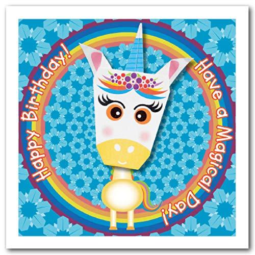Made by Man Origami Card: cuerno azul unicornio arco iris y flor cuadrado 150 mm