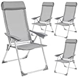 TecTake Set of 4 <span class='highlight'>Aluminium</span> folding <span class='highlight'>garden</span> chairs adjustable with armrests gray