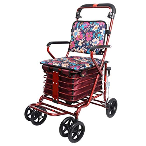 Personas mayores que compran carros de comestibles Andador plegable multifuncional con asiento para discapacitados Implementación de carritos Bolsa de compras de gran capacidad + Freno lateral + Pedal