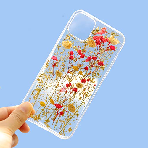 Feibili iPhone 11 Flower Case, Soft Clear Flexible Rubber Pressed Dry Real Flowers Case Girls Glitter Floral Cover for iPhone 11 (Golden)