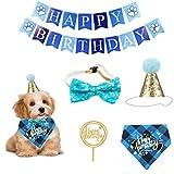 Mascota gato perro cumpleaños sombrero presente cumpleaños bandana tirar bandera saliva juego de toallas decoración de cumpleaños accesorios perro pequeño