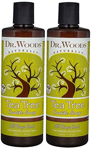 Dr. Woods Pure Tea Tree Liquid Castile Soap, 16 Ounce (Pack of 2)