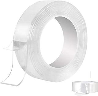 BOBOCAWA 粘着性ナノテープロール 透明 - 跡がつかない 洗濯可能 強力粘着ジェルグリップ トリップテープ クリア 滑り止め 取り外し可能 再利用可能 自宅 壁 部屋 オフィス 装飾 16.5と3.28フィート