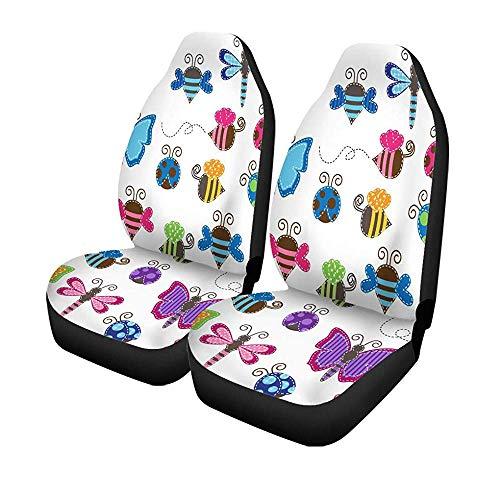 Set van 2 autostoelhoezen kleurrijk dier grote collectie van patchwork- en babykevers universele auto voorkant Seats Protector 14-17IN