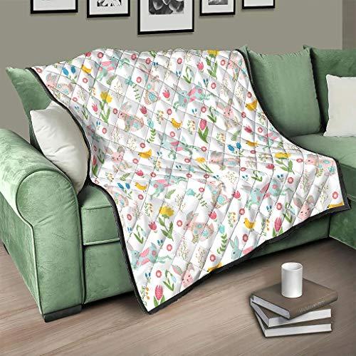 AXGM Colcha de conejos de Pascua con flores, conejos, animales, manta suave y cálida, manta para el sofá, color blanco, 100 x 150 cm