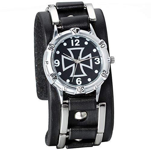 JewelryWe herenhorloge, analoog kwarts, fashion vintage casual sporthorloge met zwart lederen armband & kruis digitale wijzerplaat