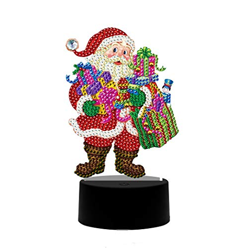 DIY Drill Diamond Painting Light LED Night Light Embroidery Cross Stitch Diamond Painting Lamp Home Decor Santa Claus 9.8x13.8 in 1 Pack by May Bob