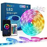 Maxuni Tira Led 10m Tira Led RGB Musical Con Sensor de Sonido Sensible Integrado, Control de APP y Mando a Distancia, cadena de luz autoadhesiva para TV, salón, dormitorio etc.