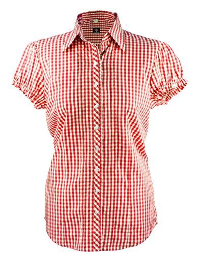 OS Klederdrachtblouse dames blouse korte mouwen blouse blouse blouse geruit in de kleur rood wit met buffer mouwen