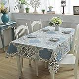 Dthlay Manteles de Mesa Rectangular Antimanchas Hojas y Flores de Color Azul Claro-140 * 200cm