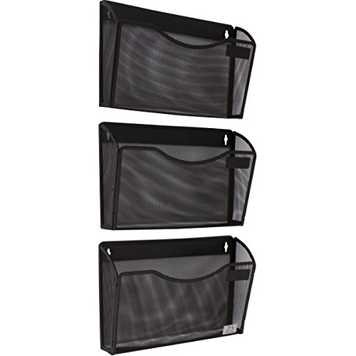 3 Pocket Wall Mount File Hanging Organizer, Metal Mesh Office Home Folder Binder Holder Magazine Mail Sorter Rack + Hardware, Black