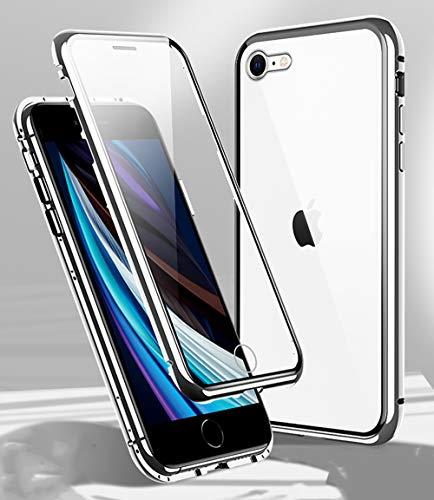 Funda para iPhone SE 2020 Magnética Carcasa,iPhone 8/7 Funda Protectora de Cuerpo Completo 360° Cristal Templado Cover con Protector de Pantalla,Antigolpes Rugged Metal Bumper Case,Plata