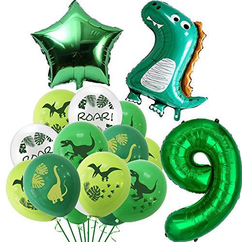Globos de dinosaurio para cumpleaños de 9 años, decoración de cumpleaños para niños, decoración gigante de dinosaurios, globos de cumpleaños con número 9, globos de cumpleaños para niños y niñas