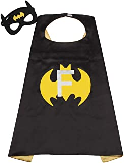 SZD Initial Letter of Name Superhero Cape for Kids,Black & Yellow Reversible Cape