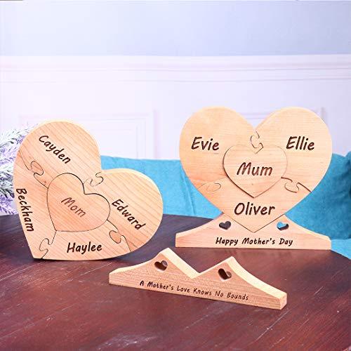 HengFeiYanShiPin Benutzerdefinierte 1-8 Name Holz Herz Puzzle Gravierte Text Familie Nachname Kunst Dekor Holz Name Symbol Desktop Schlafzimmer Home Dekoration Muttertag Jubiläum 16,5 x 15 cm
