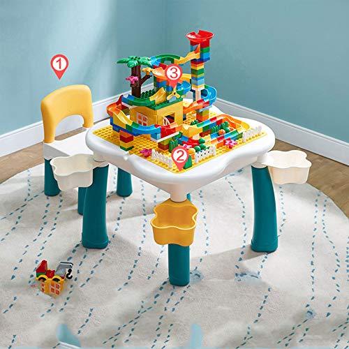 XSN Bausteine Spieltisch Sitzgruppe, Single Board Dual Purpose,Eine Vielzahl Von Bausteinpaketen Zur Auswahl,Spieltisch Mit Großer Aufbewahrungsbox