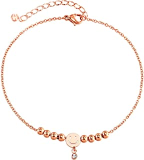 CXQ Fashion Simple Personality Tassel Ball Smiley Rose Gold Anklet Foot Ring Couple Jewelry Accessories Gift