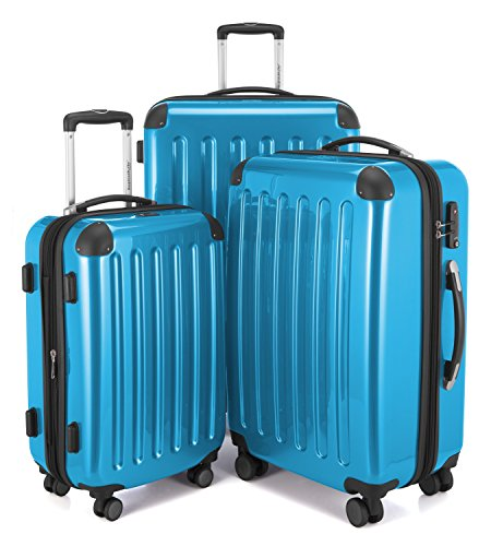 This electric blue hard side luggage set is German engineering at its best. This suitcases are extremely sell made and won't let you down.