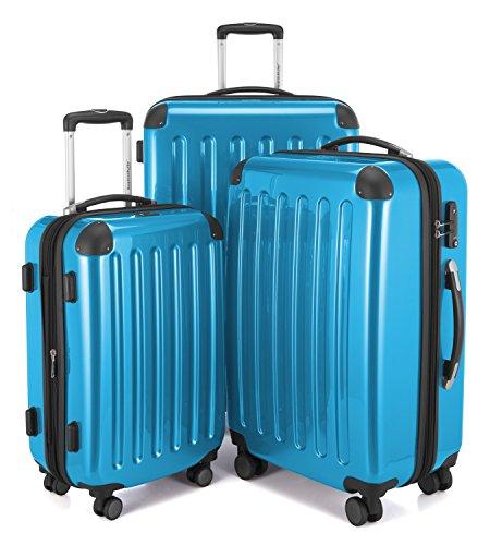 HAUPTSTADTKOFFER - Alex - 3er Koffer-Set Trolley-Set Rollkoffer Reisekoffer Erweiterbar, 4 Rollen, TSA, (S, M & L), Cyanblau