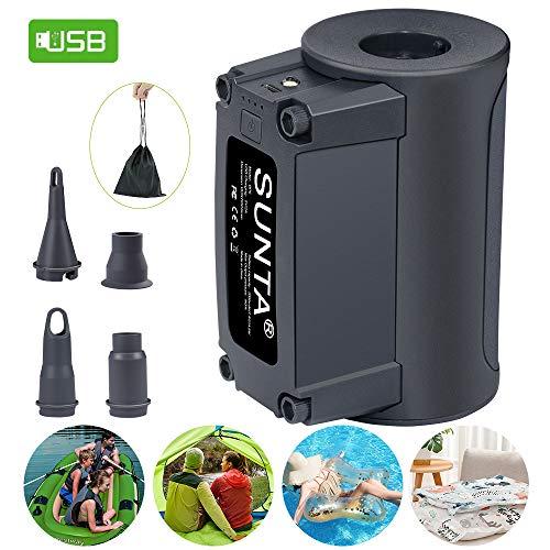 Suntapower Tragbare elektrische Luftpumpe zum Aufblasen und Absaugen von Luft für Schwimmmatten Schwimmringe Luftmatratzen Luftmatratzen Yogabälle