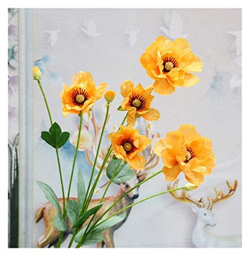 Zxebhsm Künstliche Blumen 8 köpfe/Zweig Mohn Künstliche Blume Anordnung Brautjungfer Bouquets Neue Dekoration Gefälschte Blume Mohn Langen Stiel Hause (Farbe : Orange)