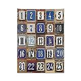 ABAKUHAUS Numero Tappeto da Parete e Copriletto, Numeri civici Collage, Colori Chiari Non sbiadiscono, 110 x 150 cm, Multicolore