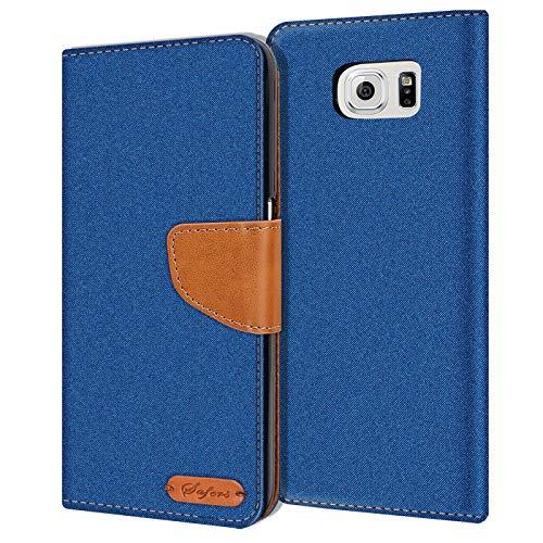 Conie Samsung Galaxy S6 Hülle für Galaxy S6 Tasche, Textil Denim Jeans Look Booklet Cover Handytasche Klapphülle Etui mit Kartenfächer, Blau