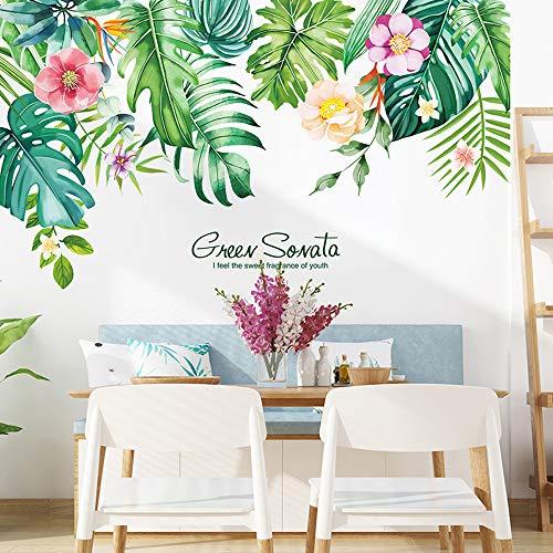 VASZOLA - Adesivo da parete con foglie verdi e fiori tropicali, rimovibile con acquerello e foglie, decorazione per la casa, per camera da letto, soggiorno, ufficio, bagno