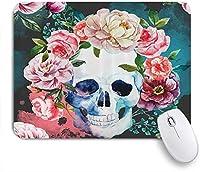 NINEHASA 可愛いマウスパッド 大きな花と頭蓋骨のデザインのスケルトン諸聖人の日ハロウィーンの画像 ノンスリップゴムバッキングコンピューターマウスパッドノートブックマウスマット
