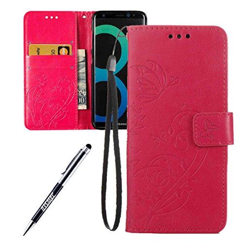 JAWSEU ZXM001535 beschermhoes voor Samsung Galaxy S8, Samsung Galaxy S8, Rose Rouge/flower