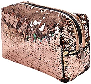 TOOGOO New Sequin Cosmetic Bag Color Reversible Sequin Pencil Bags Girls Cosmetic Case Gift(Champagne+Gold)
