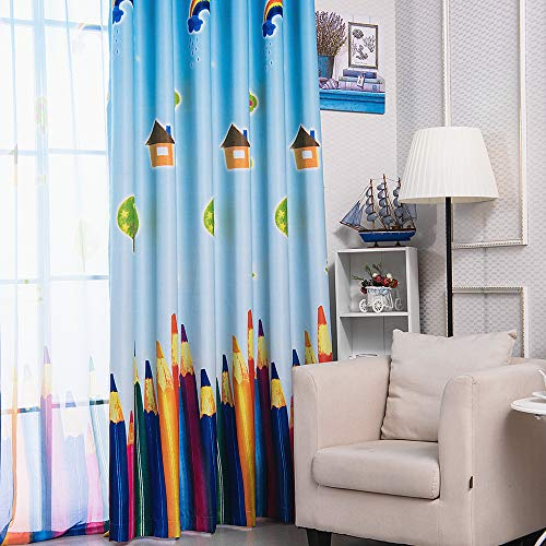 1 Panel Kids Curtains Boys Girls Bedroom Semi Blackout Curtains Printed House Sun Rainbow Tree and Paintbrush or Colored Pencils Grommet Room Darkening Nursery Drapes Window Treatments W52 x L102 Inch