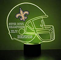 Mirror Magic Light Up LED Lamp - Football Helmet Night Light for Bedroom with Free Personalization - Features Licensed Decal and Remote (Saints (New Orleans))