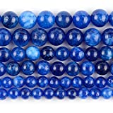 YUXIwang Pulsera Kyanite Natural Jades Piedra Redonda Perlas espaciadoras Sueltas para joyería Fabricación de 6/8 / 10mm Bricolaje DIY Hecho a Mano (Item Diameter : 10mm 36 to 37pcs)