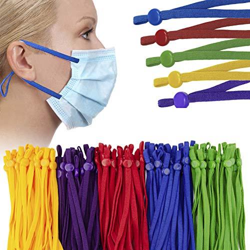 Adjustable Elastic String with Mask Adjuster Buckle for Sewing, Elastic Strips, Band Cord for Masks, Stretchy Earmuff Rope, Adjustable Mask Elastic Strap for DIY Face Masks Sewing - 5 Dark Mix Colors