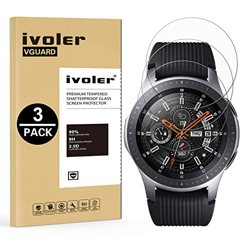 iVoler [3 Pack] Pellicola Vetro Temperato per Samsung Galaxy Watch 46mm / Samsung Gear S3 Frontier / S3 Classic, Pellicola Protettiva, Protezione per Schermo