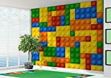 3D Building Blocks Toy Bricks Wallpaper Wall Mural Childrens Bedroom (220gsm Premium Paper, XXL 300cm Wide x 240cm high)