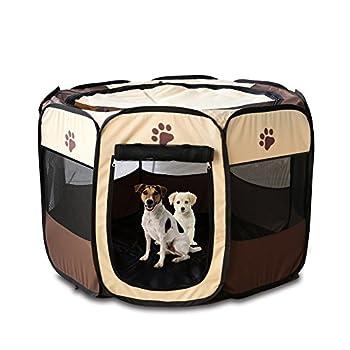 Tineer Portable Pet Cat Cage pour Chien Niche Chenil Tente Lit Parc d'enfant Camping de Plein air Pliable Maison de Caisse de Chien de Voyage Playpen (Medium: 90×90×60cm, Marron)