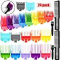 24 Pieces Hair Clipper Limit Combs Set, Includes 20 Attachment Guide Combs Hair Clipper Guards, 2 Brushes and 2 Flat Top Combs for Electric Trimmer Shaver Hair Trimmer Comb, 10 Colors, 10 Sizes from Patelai