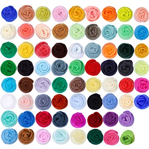 Fansport Nadelfilz-Kit Kreatives 70-Farben-DIY-Bastel-Wollroving für Anfänger
