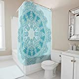 BOBONC Duschvorhänge LightSkyBlue Mandala Bedruckt Schimmel Resistent hochwertige Qualität Shower Curtain Bad Vorhang für Badezimmer Badewanne White 180x200cm