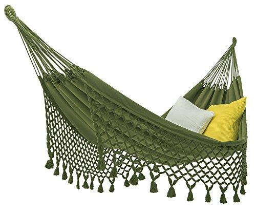 ECOMUNDY Romance XL Bio 360 – Hamaca de lujo con flecos – 2 personas – Color verde – Tejido a mano – GOTS – Algodón orgánico 160 x 240 x 360 cm máx. 250 kg