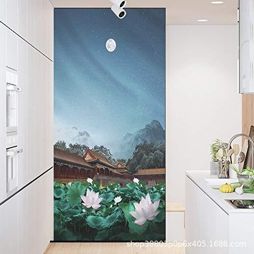 TFOOD raamfolie, raamfolie, esthetisch klassiek gebouw lotusmaan privacy statische cling gematteerde aftrekplaat, oppakkes glasdecor, zelfklevende uv-bescherming voor keuken, badkamer, woonkamer