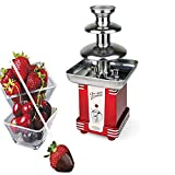 Nostalgia Chocolate Fountain Machine, 3 Tier Electric Chocolate Fondue, Chocolatier Warmer with Quiet Motor for Dessert/Dipping for Parties, Weddings,1.5-Pound Capacity, Red