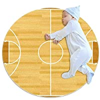 洗濯機で洗えるラウンドエリアラグ屋内ウルトラソフトベッドルームフロアソファリビングルーム寮小さな円形カーペット2.6フィート、スポーツバスケットボールコートウッド